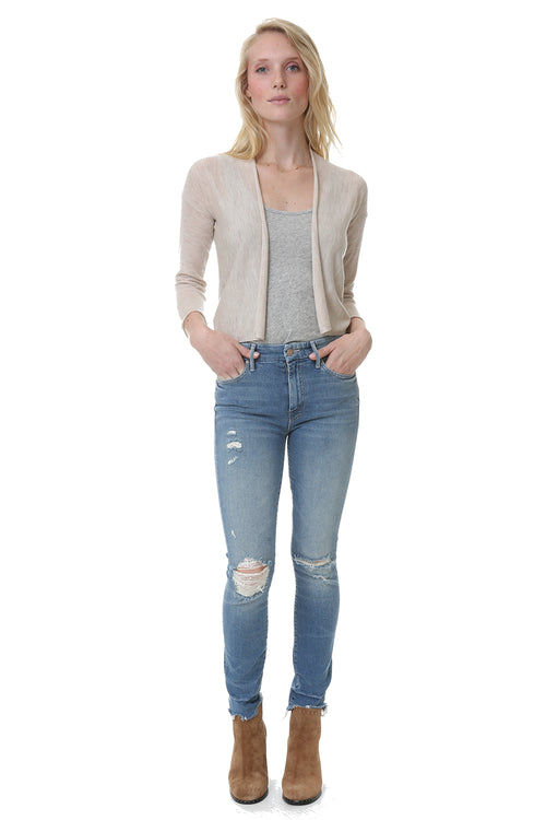 Easy Crop Cardigan in Tan