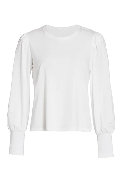 Karter Long Sleeve Puff Tee in White