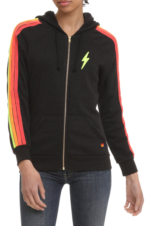 Classic 4 Stripe Bolt Zip Hoodie in Black Neon
