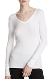 Modal Rib Long Sleeve V-Neck Tee in White