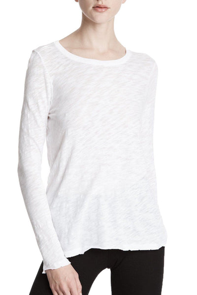 Slub Jersey Long Sleeve Destroyed Wash Tee in White