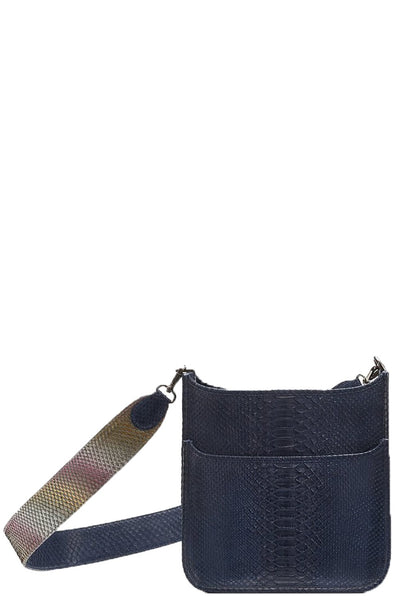 Asher Python Messenger in Navy with Rainbow Strap