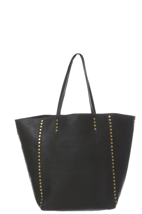Dannie Tote with Circle Studs in Brown