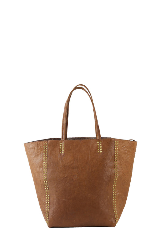 Dannie P Tote with Studs in Cognac