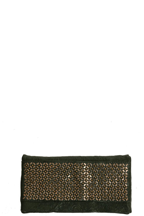 Fava Foldover Clutch in Forest