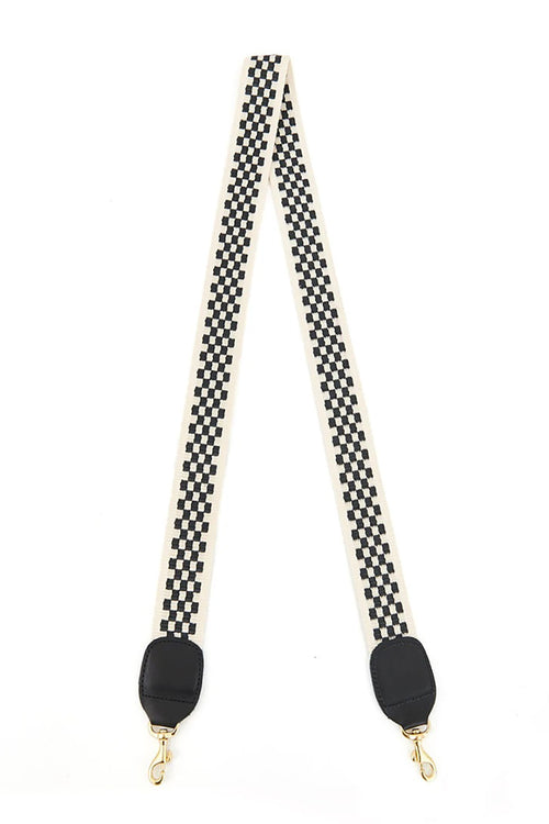 Crossbody Strap in Black Cream Checker