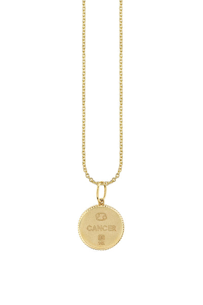 Yellow Gold Cancer Zodiac Medallion Necklace