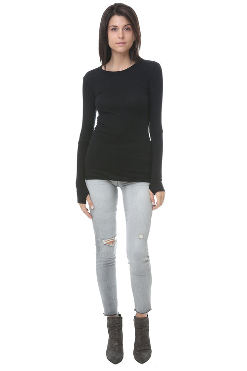 Cashmere Cuff Crew Neck Sweater in Black