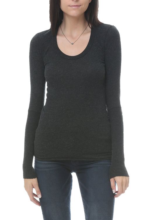 Cashmere Cuff Scoop Neck in Charcoal