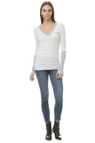 Cashmere Cuff V Neck in Heather