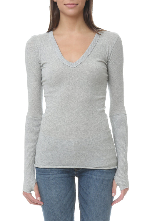 Cashmere Cuff V Neck Sweater in Ash