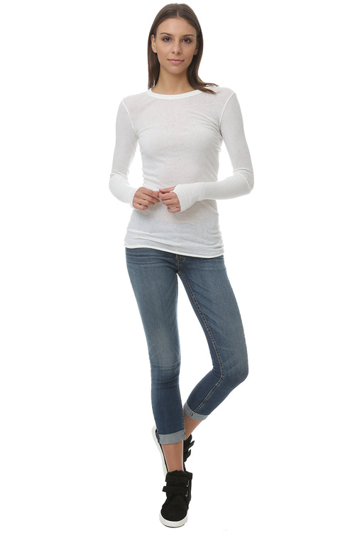 Cashmere Cuff Crew Neck Sweater in White