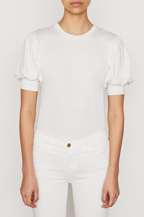 Balloon Sleeve Tee in Blanc