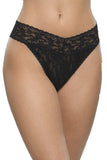 Signature Lace Original Rise Thong in Black