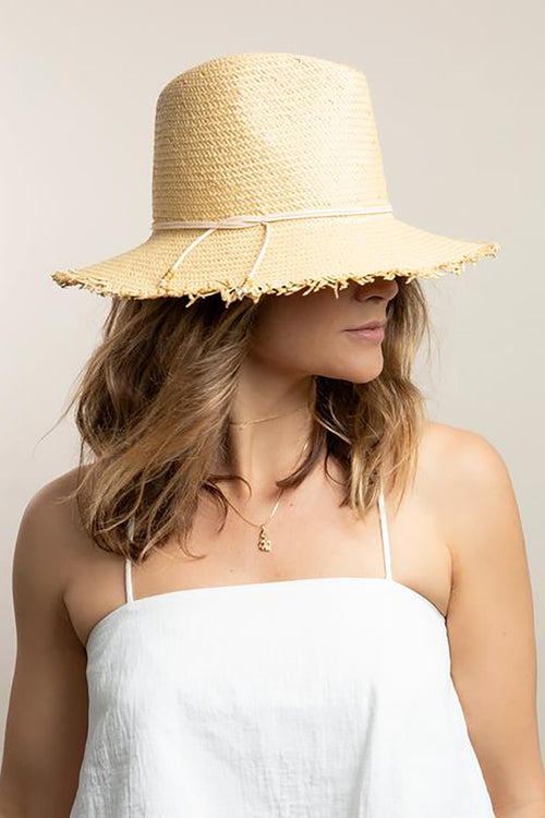 Fringe Travel Hat in Toast Blush