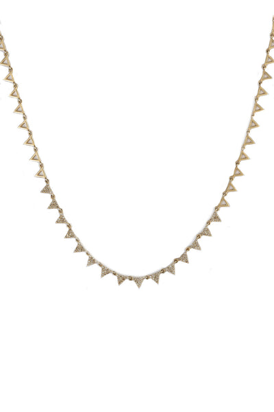 Pave Diamond Open Triangle Necklace