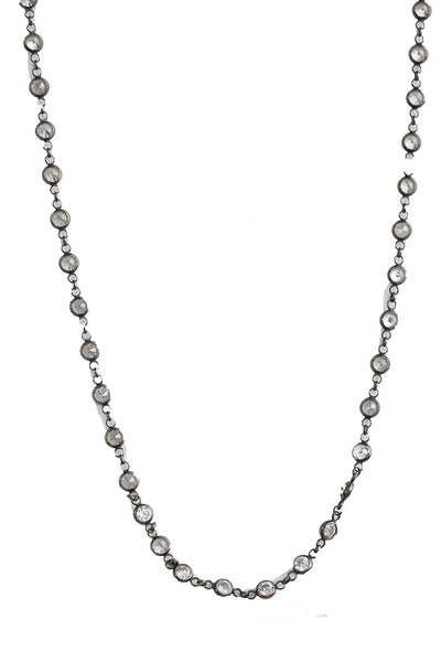 Oxidized Crystal Short Necklace