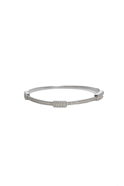 Oxidized Pave Diamond Bangle with 3 Rectangles