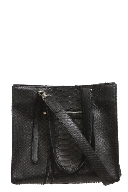 Asher Python Messenger in Black with Natural Strap