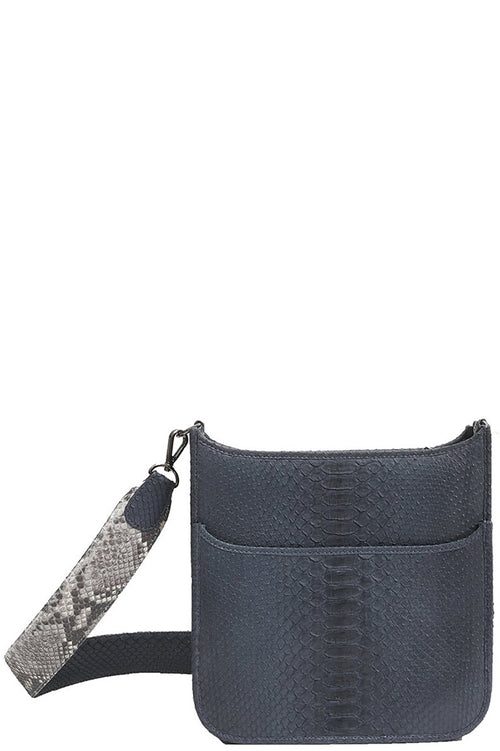 Small Asher Python Messenger in Blue Jean with Natural Strap