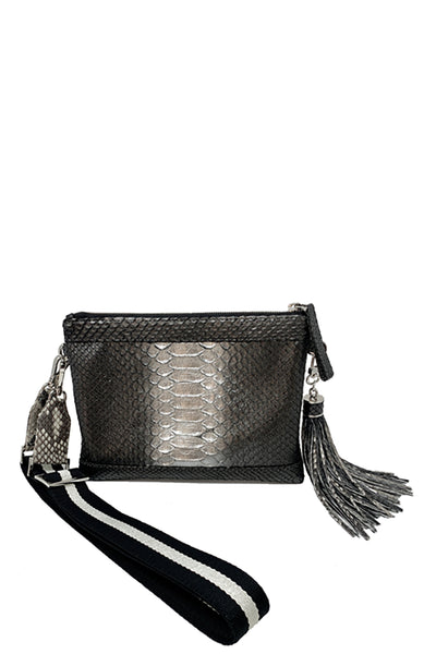 Jo Crossbody Bag in Gray Metallic Ombre