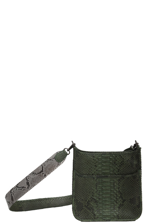Small Asher in Olive with Natural Strap