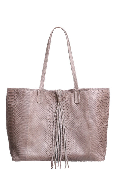 Stevie Python Tote in Tan