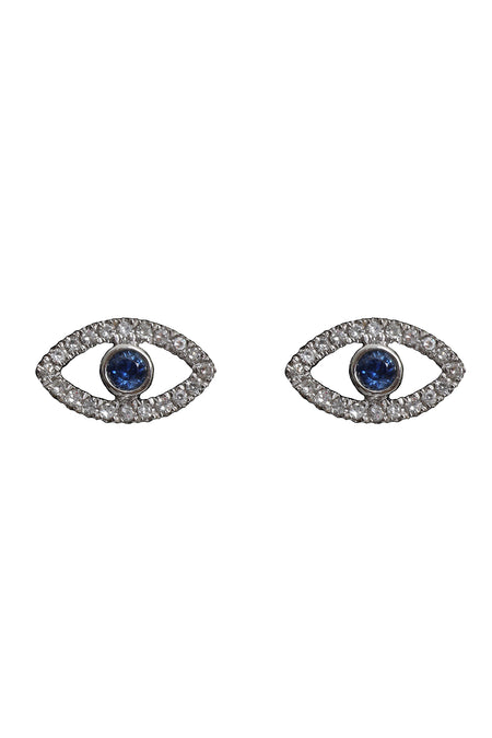 Oxidized Pave Diamond & Blue Sapphire Reversible Evil Eye