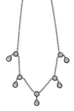 Oxidized Pave Diamond Double Teardrop Moonstone Necklace