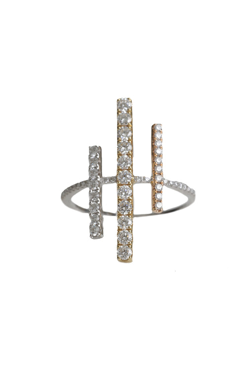 14K White Gold, Yellow Gold, Rose Gold 3 Diamond Lines Ring