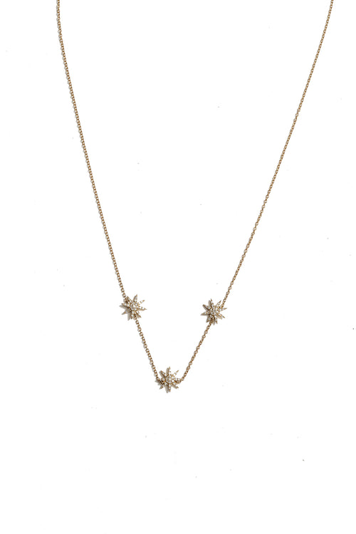 14K Yellow Gold Triple Starburst Diamond Necklace