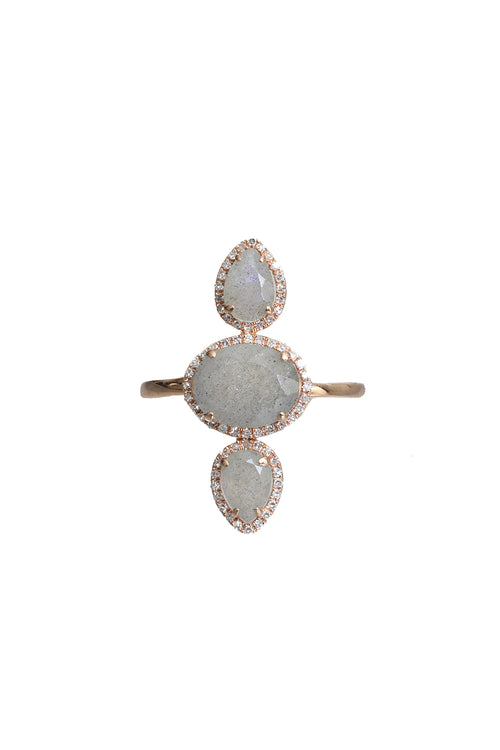 14K Rose Gold Pave Diamond Labradorite Ring