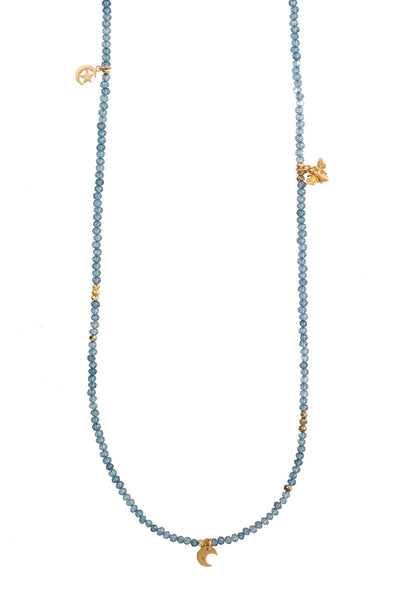 Handbeaded London Blue Topaz Necklace with Yellow Gold Charms