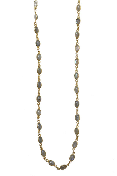18K Plated Yellow Gold Labradorite Layering Chain