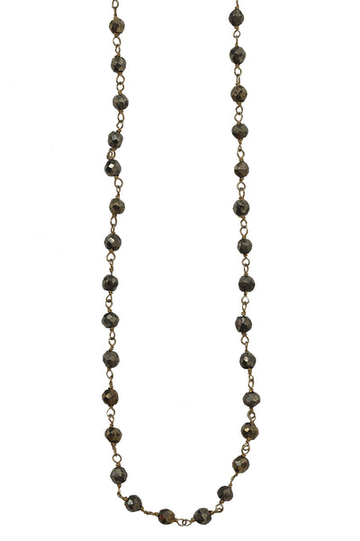 18K Yellow Gold Plated Pyrite Layering Chain