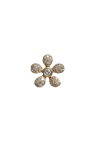 14K Yellow Gold Diamond Daisy Stud