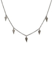 Oxidized Pave Diamond Dagger Necklace