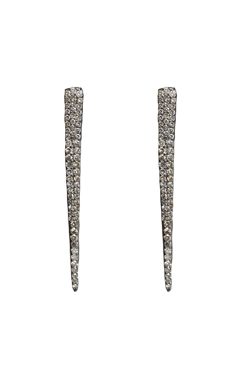 Oxidized Pave Diamond Dagger Studs