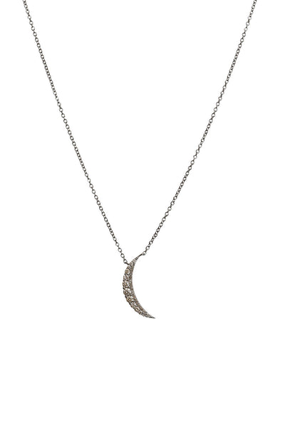 Oxidized Full Cut Diamond Half Moon Necklace