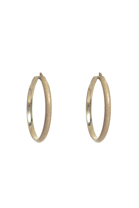 Large Flat Upside Hoops in White Gold