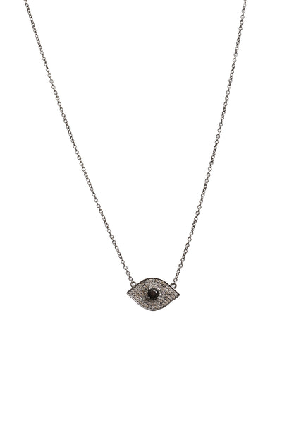 Evil Eye Necklace with Black Spinel Center