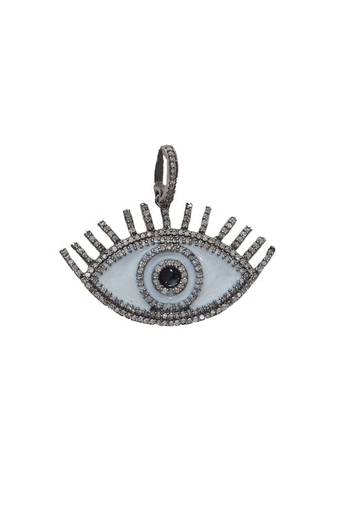 Pave Diamond Enamel Eye Pendant