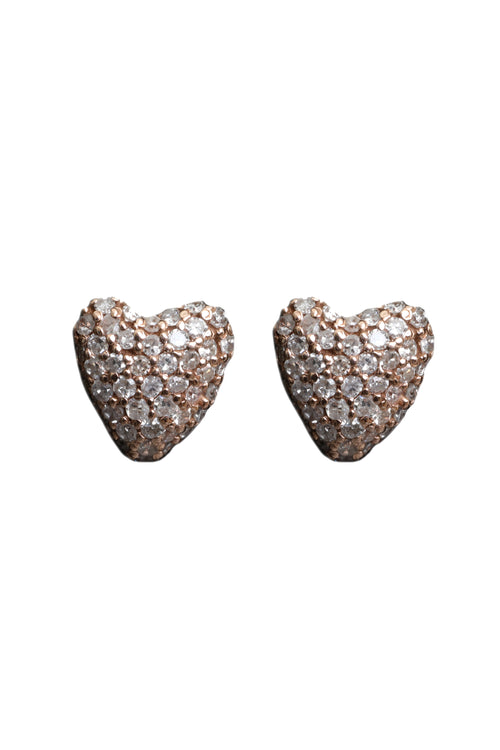 18K Rose Gold Diamond Heart Studs