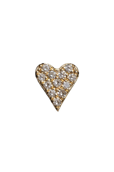 14K Yellow Gold Diamond Heart Stud