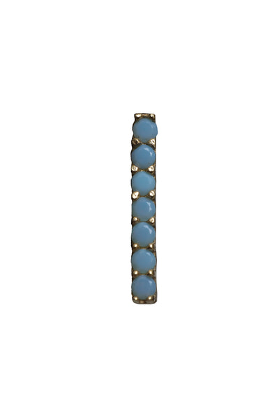 14K Yellow Gold Turquoise Bar Stud