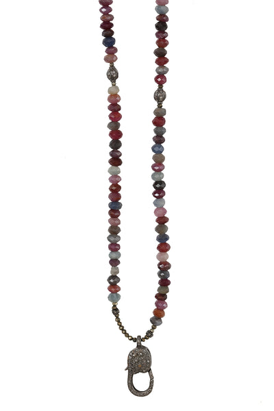 Handbeaded Multi Sapphire Necklace with Oxidized Pave Diamond Clasp and Beads