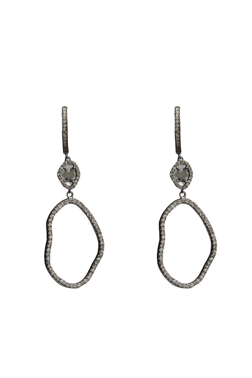 Oxidized Diamond Organic Shaped Earrings