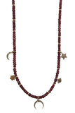 Beaded Tourmaline 14K Yellow Gold Charm Necklace