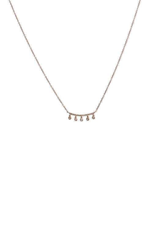 14K Rose Gold Drop Diamond Bar Necklace