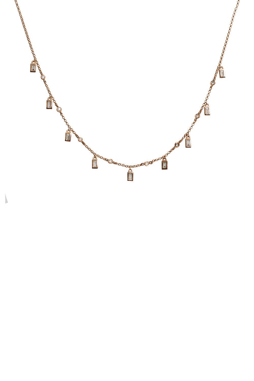 14K Rose Gold Full Cut Diamond and Baguette Drop Necklace